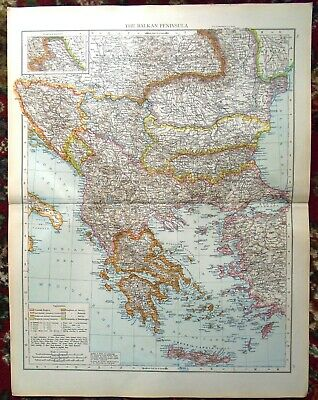 OLD MAP THE BALKAN PENINSULA ~ Taken From The Universal ...