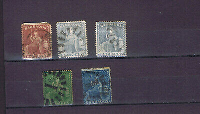 Barbados 5 very old classic sitting Britannia stamps