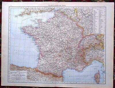 Antique MAP Plan ~ FRANCE FRENCH General ~ 1895 (LARGE) 120+ Years Old