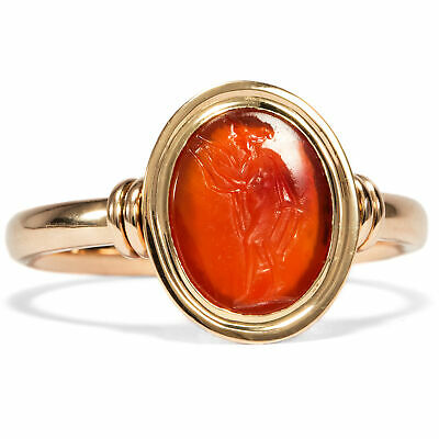 Antique Intaglio Muse Erato 1./2. Century N Chr. 750 Red Gold Ring Carnelian