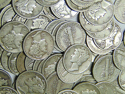 Roll of 50 Mercury Silver Dimes $5 Face Value 90% Silver Coins (1031)