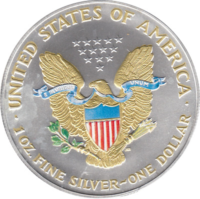 2001 Silver USA BU Coloured & Gold Eagle $1 Coin COA