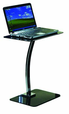 Small Side End Display Laptop Stand Telephone Coffee Lamp Table Chrome Glass Top