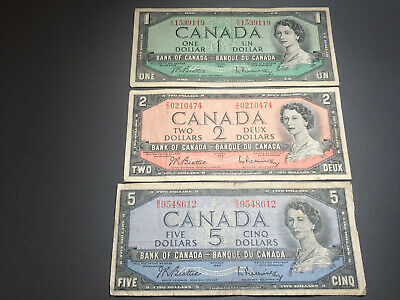 1954 Bank of Canada Set $1 $2 $5 Queen Elizabeth II Old Bills Nice Shape!