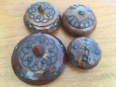 4 Round French Vintage Small Carved Wooden Pot