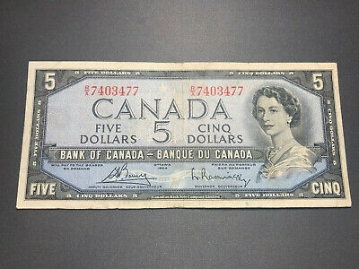 1954 Bank of Canada $5 Queen Elizabeth II Old Bill Nice Shape! R/X 7403477