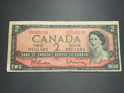 1954 Bank of Canada $2 Queen Elizabeth II Old Bill Nice Shape! B/U 5565193
