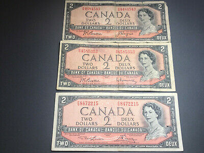 3 - 1954 Bank of Canada $2 Queen Elizabeth II Old Bills Nice Shape!