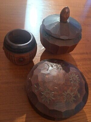3 French Vintage Small Carved Wooden Pots