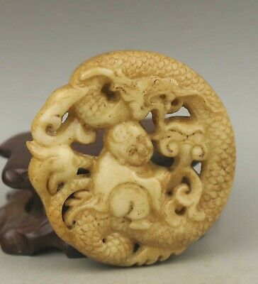 Chinese old natural jade hand-carved dragon pendant 2.1 inch