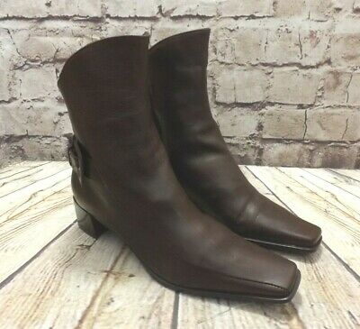 Womens Riva Brown Leather Zip Fastening Mid Heel Ankle Boots UK 5 EUR 38