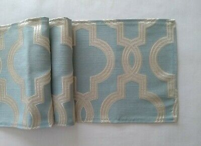 """Blue And Cream Abstract Design Fabric Table Runner 9"""" X 54"""""""