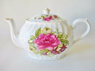 Price Kensington English Teapot Rose And Pansy Flowers Vintage White Rose Green