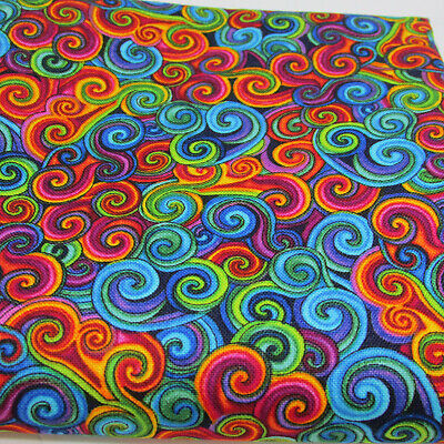 Paradise swirl - small packed multi colour 100% cotton fabric Timeless Treasures