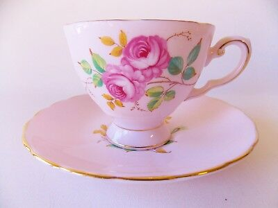 Tuscan Fine English Bone China Pink Cup And Saucer Hand Painted Pink Roses Nice
