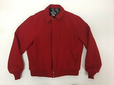 db835d1dff8f7 Vintage Woolrich Men's Wool Coat Jacket Medium Red Plaid Lined Made USA  Heavy