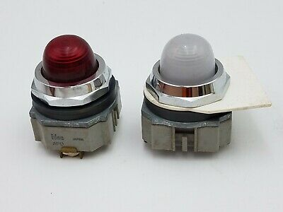 2PC Mix Red White IDEC APD199N-R-24V 30mm Pilot Light Illuminated Indicator Used
