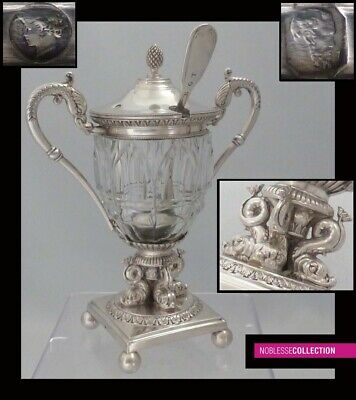 FINE ANTIQUE 1820s FRENCH STERLING SILVER MUSTARD POT & SPOON PARIS 1819-1838