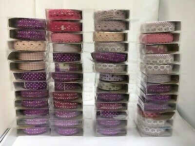 Bulk listing for box of 50 x pink purple floral lace fabric glitter washi tapes