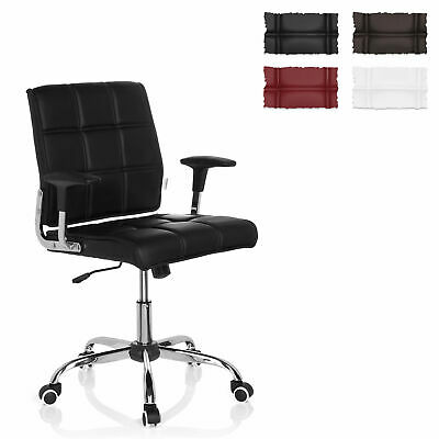Office Chair Swivel Chair PU Leather Large Seat Armrest ERNESTO hjh OFFICE
