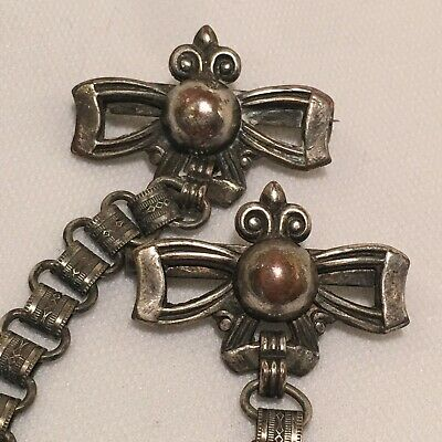 Vintage Art Deco Era Sweater Guard Style Chatelaine Pins W/ Book Chain Center!