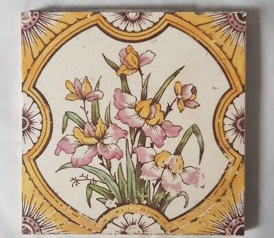 Elegant English Floral Bouquet Design Antique 6 Inch Tile