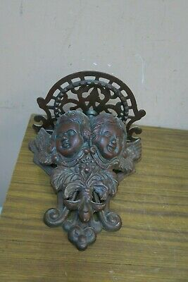 Large Vintage Antique Cast-Iron Architectural Wall Shelf Sconce Two Angel Cherub