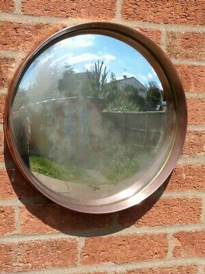 VINTAGE 1930/50s ROUND COPPER FRAMED CONVEX WALL MIRROR WITH DISTRESSED GLASS