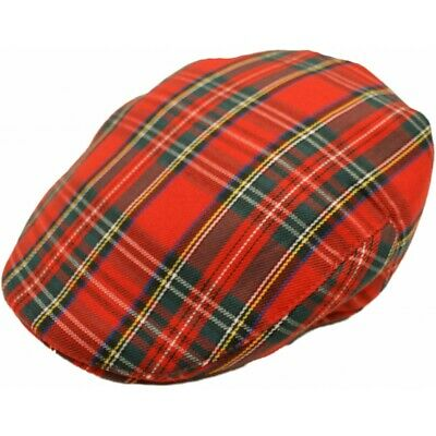 Men's Red Tartan Check Flat Cap Cotton Blend Spring Summer Golf