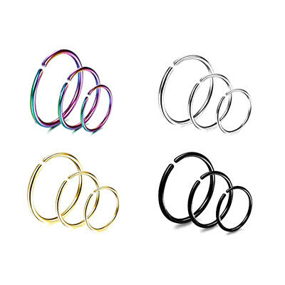 3pcs Fake Nose Ring Rainbow Septum Hoop Tragus Helix Cartilage Piercing Jewelry