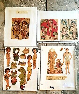 Group of 1930's Original Laura Brocks Doll Family paper dolls some uncut + Daddy