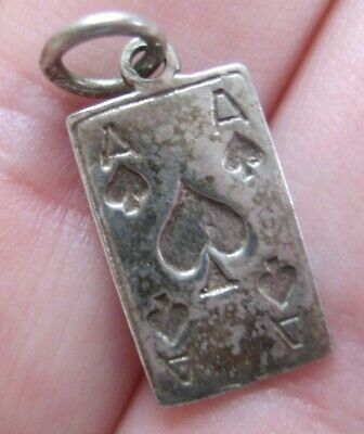 VINTAGE Sterling Playing Card ACE OF SPADES Silver Charm