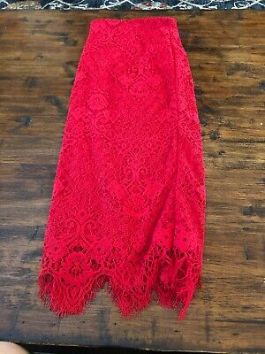 6e846203a5 ECI New York Lace Pencil Skirt Fire Red Size 10 New W Tags