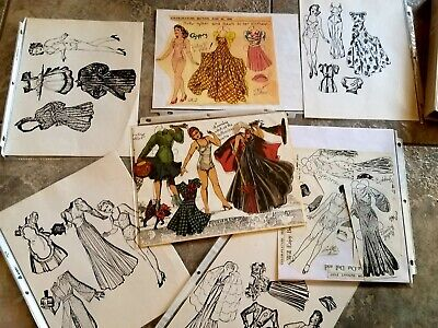 Vintage lot of early 1940s paper dolls some uncut Charlotte Ware Gypsy, PinUp +