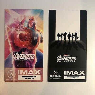 Marvel's Avengers Infinity War Endgame IMAX Ticket 2 Set - Thanos Iron Man Hulk