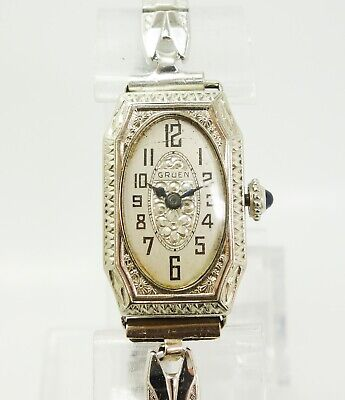 Vintage 1920s Gruen Art Deco 14K White Gold GF 15J Ladies Wristwatch