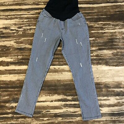 c8e983410ad37 Planet Motherhood Maternity Pin Stripe Pull On Full Panel Jeans Size XL