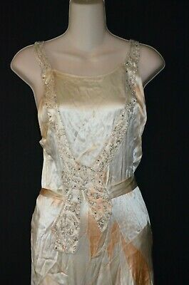 1920s Vintage Antique Silk Ivory Beaded flapper Art Deco Wedding Dress