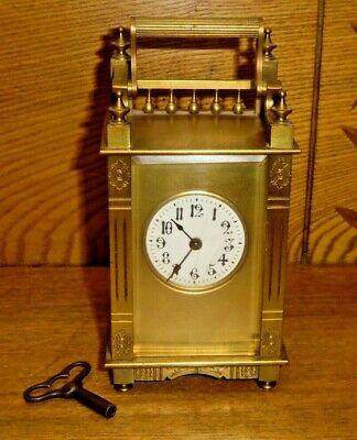 Antique French Style Boston Company Brass Carriage Clock w/ Gallery