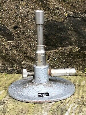 Vintage Gas Bunsen Burner & Iron Tripod Stand Science Lab Ex School Chemistry
