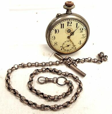 Antique/ Vintage NAUTA 1A B&B Silver Tone Pocket Watch And Chain *Working* - S45