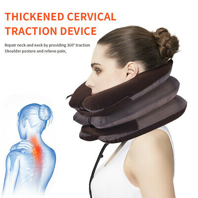 Air Inflatable Cervical Neck Traction Device Pillow Head Neck Brace Relaxing JO
