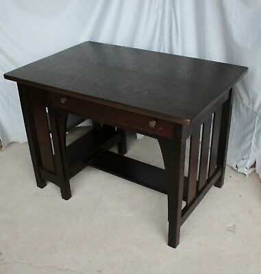 Antique Mission Oak Desk with bookcase on the end – Limbert - Arts & Crafts