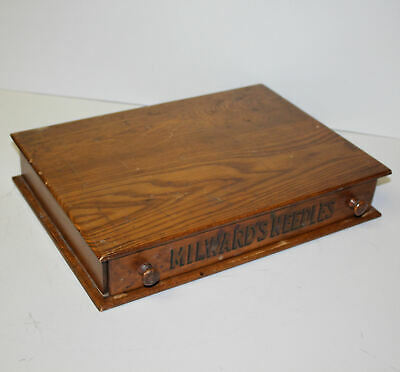 Antique Country Store Milward's Needles Oak Storage Cabinet