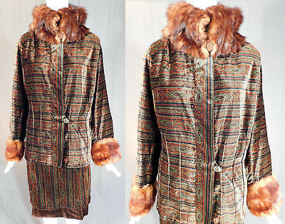 Vintage Art Deco Ethnic Striped Print Velvet Fur Trim Dress Suit Jacket & Skirt