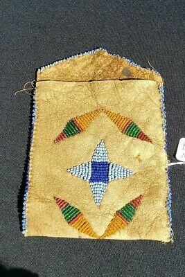 Native American Indian Beaded Pouch, Elk Hide , From a Major Collection