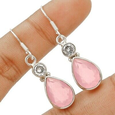 Faceted Rose Quartz  925 Solid Sterling Silver Earrings Jewelry C19-7