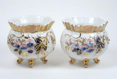 Antique Tea Cup Pair Coffee Cups Hand Painted Applied Flowers Fluted Rims Footed