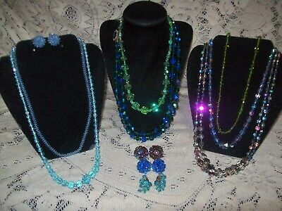 11 Piece Vintage Mixed Colorful Crystal Bead Necklace and Earring Lot -Vogue