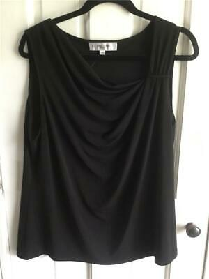 WOMEN'S TOP SHIRT angled NECK  SZ 16W NWOT JONES STUDIO BLACK SHELL SLEEVELESS